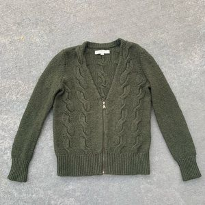 Loft size small olive green zip up sweater